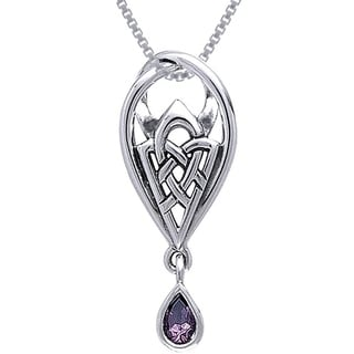 Carolina Glamour Collection Sterling Silver Gemstone Celtic Knot of Protection Necklace