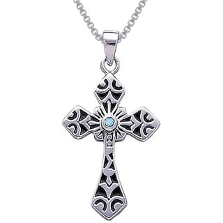 Carolina Glamour Collection Sterling Silver Gemstone Celtic Cross Pendant Necklace