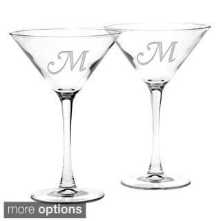 Culver Deep Etched Martini Glass Monogrammed Letter (Set of 2)