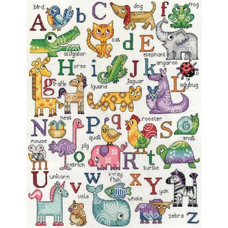 ABC Animals Counted Cross Stitch Kit12inX16in 14 Count