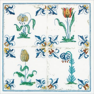 Antique Tiles, Flowers On Aida Counted Cross Stitch Kit11inX11in 18 Count