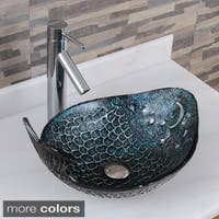 Elite Pacific Whale+2659 Pattern Tempered Glass Bathroom Vessel Sink With Faucet Combo