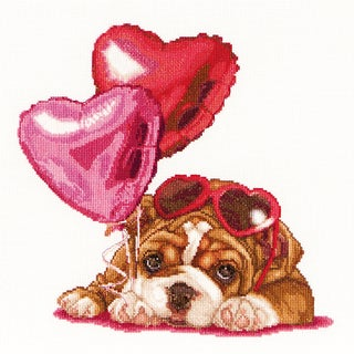 Valentine's Puppy On Aida Counted Cross Stitch Kit12.25inX11.75in 16 Count