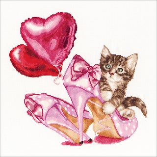 Valentine's Kitten On Aida Counted Cross Stitch Kit12.25inX11.75in 16 Count