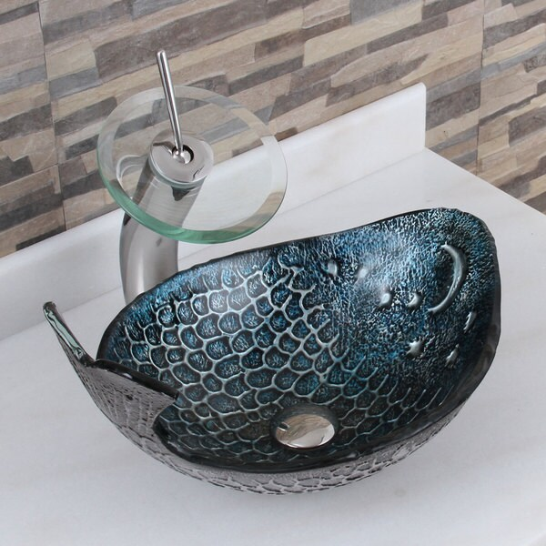 Elite Pacific Whale+F22T Pattern Tempered Glass Bathroom Vessel Sink and Waterfall Faucet Combo