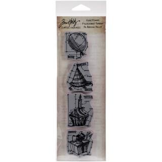 Tim Holtz Mini Blueprints Strip Cling Rubber Stamps 3inX10inBirthday