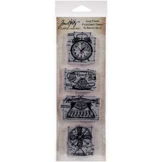Tim Holtz Mini Blueprints Strip Cling Rubber Stamps 3inX10inVintage
