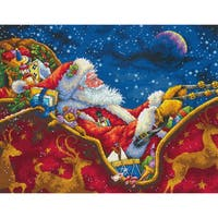 Gold Collection Santa's Midnight Ride Counted Cross Stitch K14inX11in 18 Count