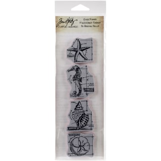Tim Holtz Mini Blueprints Strip Cling Rubber Stamps 3inX10inNautical