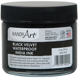Handy Art Black Velvet India Ink 2oz Glass Jar