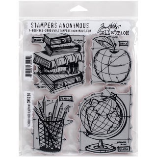 Tim Holtz Cling Rubber Stamp Set 7inX8.5inSchoolhouse Blueprint
