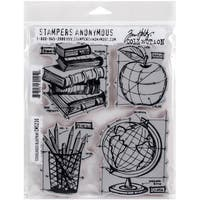 Tim Holtz Cling Rubber Stamp Set 7inX8.5inSchoolhouse Blueprint