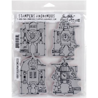 Tim Holtz Cling Rubber Stamp Set 7inX8.5inRobots Blueprint