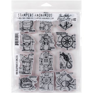 Tim Holtz Cling Rubber Stamp Set 7inX8.5inMini Blueprints #9