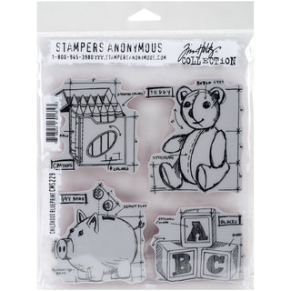 Tim Holtz Cling Rubber Stamp Set 7inX8.5inChildhood Blueprint