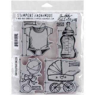 Tim Holtz Cling Rubber Stamp Set 7inX8.5inBaby Blueprint