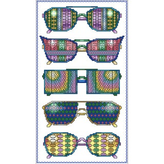 Summer Fun Glasses Counted Cross Stitch Kit6.125inX11in 16 Count