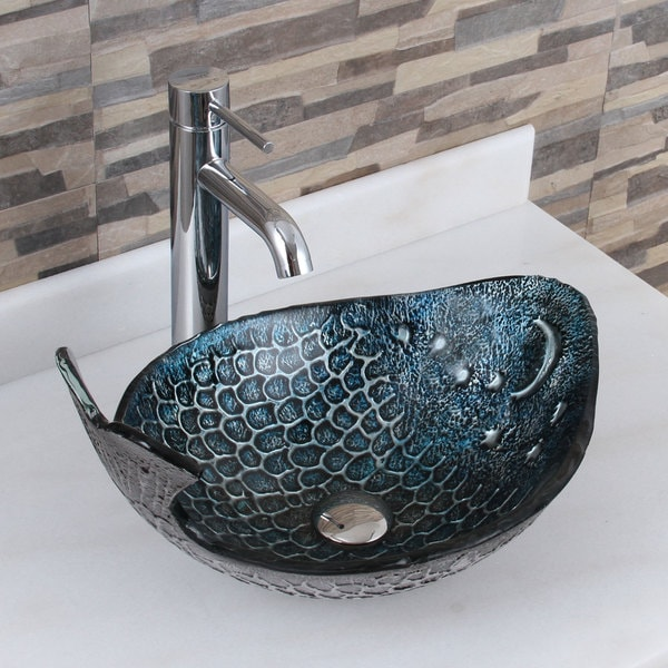 Elite Pacific Whale+F371023 Pattern Tempered Glass Bathroom Vessel Sink With Faucet Combo