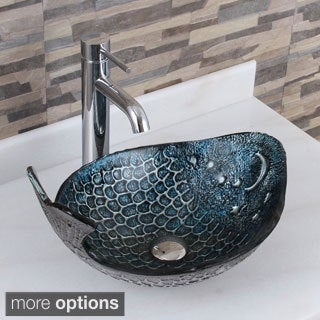 elite pacific pattern tempered glass bathroom vessel sink with faucet combo