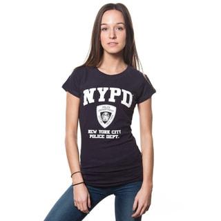 NYPD Women's White Print Navy Cap Sleeve Tee