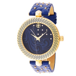 Fortune NYC Women's Goldtone Case Blue Quilted Dial Blue Leather Strap Watch