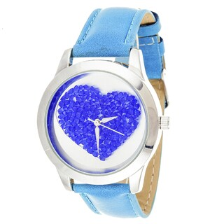 Fortune NYC Women's Silvertone Case Heart Dial Blue Leather Strap Watch