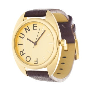 Fortune NYC Women's Goldtone Square Case 'Fortune' Dial Brown Leather Strap Watch