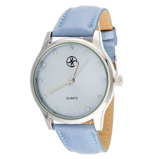 Fortune NYC Women's Silvertone Case Beige Leather Strap Watch