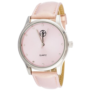Fortune NYC Women's Silvertone Case Pink Leather Strap Watch