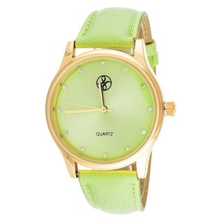 Fortune NYC Women's Goldtone Case Green Leather Strap Watch