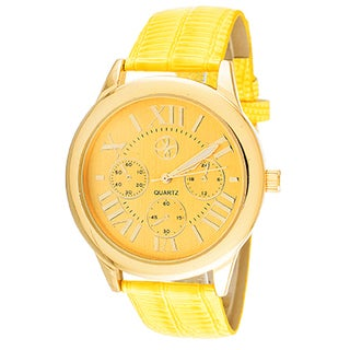 Fortune NYC Women's Goldtone Case Yellow Dial and Leather Strap Watch