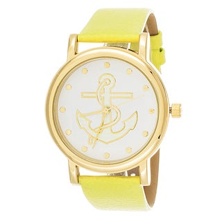 Fortune NYC Women's Goldtone Case Goldtone Anchor Dial with Green Leather Strap Watch