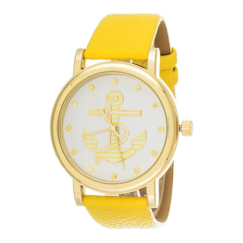 Fortune NYC Women's Goldtone Anchor Dial with Yellow Leather Strap Watch