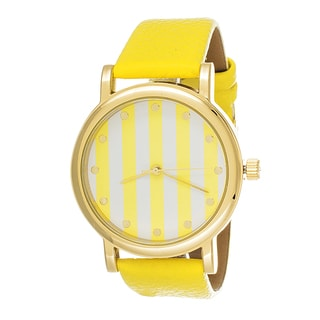 Fortune NYC Women's Goldtone Case Yellow Striped Dial with Leather Strap Watch