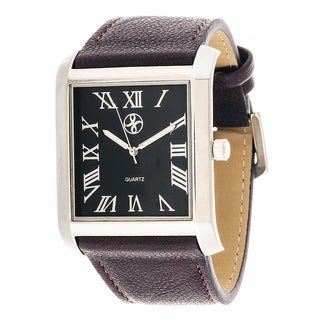 Fortune NYC Men's Silvertone Square Case Burgundy Leather Strap Watch