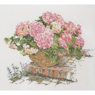 Pink Hydrangea On Aida Counted Cross Stitch Kit17.5inX15.5in 16 Count