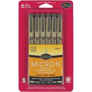 Pigma Micron Pens 03 .35mm 6/PkgBlack