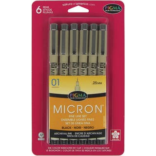 Pigma Micron Pens 01 .25mm 6/PkgBlack|https://ak1.ostkcdn.com/images/products/10155677/P17285119.jpg?impolicy=medium