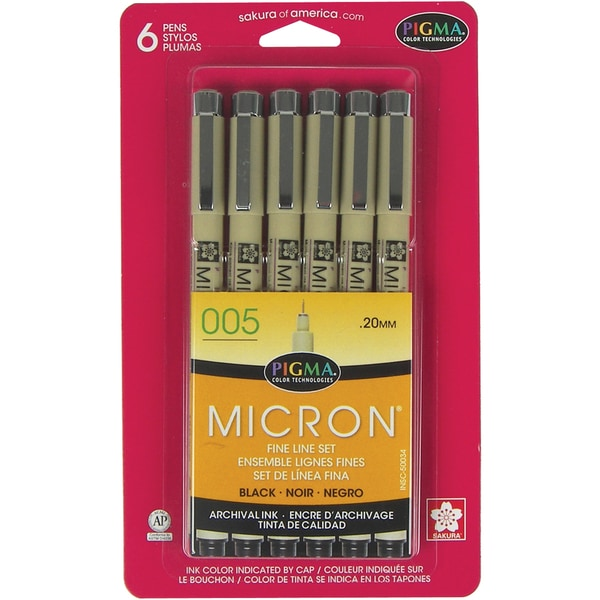 Pigma Micron Pens 005 .2mm 6/PkgBlack