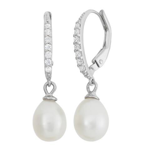 Gioelli Sterling Silver Freshwater Pearl Dangle Earrings (7-8mm)