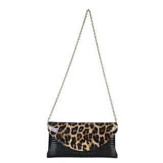 Mllecoco Genuine Real Leather Leopard Print Crossbody Messenger