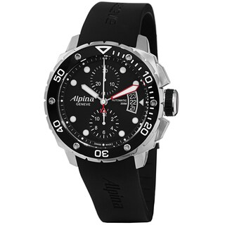 Alpina Men's 'Extreme Diver' Black Dial Black Rubber Strap Watch