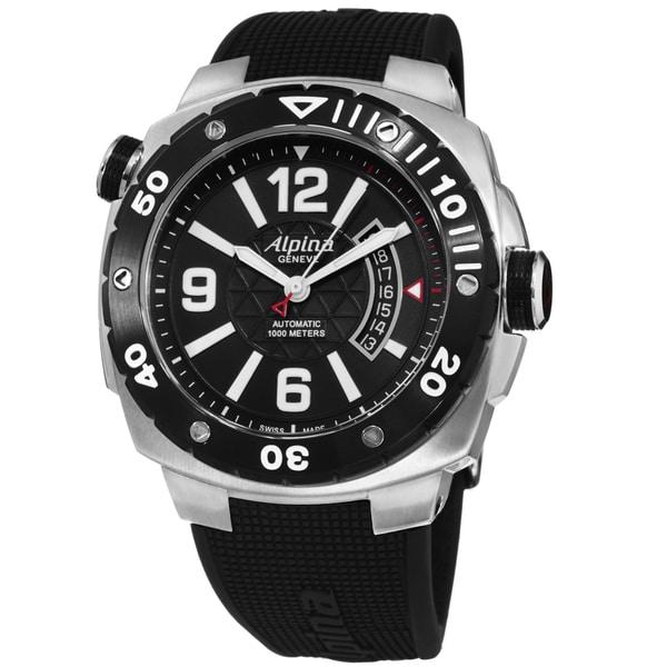 Shop Alpina Mens Extreme Diver Black Dial Black Rubber Strap - Alpina diver