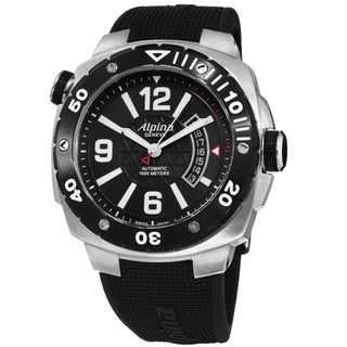 Alpina Men's AL-525LBB5AEV6 'Extreme Diver' Black Dial Black Rubber Strap Swiss Automatic Watch
