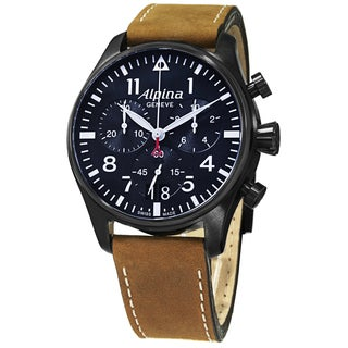 Alpina Men's AL-372N4FBS6 'SmartimerPilot' Blue Dial Brown Leather Strap Chronograph Watch