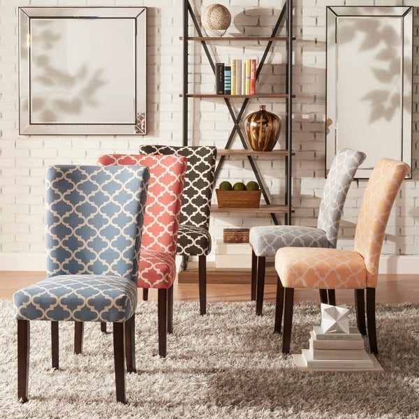 Catherine Moroccan Pattern Fabric Parsons Dining Chair By INSPIRE Q Set Of 2