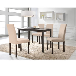 Andrew Beige Fabric Upholstered Solid Wood 5 Pieces Dining Set