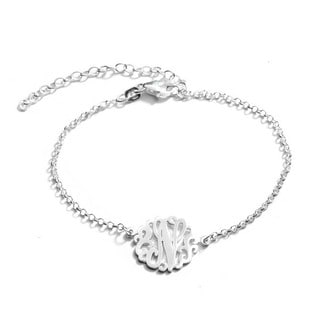 Sterling Silver Single Initial Monogram Bracelet