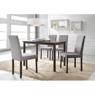 Andrew Grey Fabric Upholstered Solid Wood 5 Pieces Dining Set