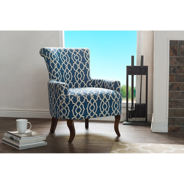 Audlington Contemporary Navy Blue Patterned Fabric Upholstered Armchair Free Shipping Today